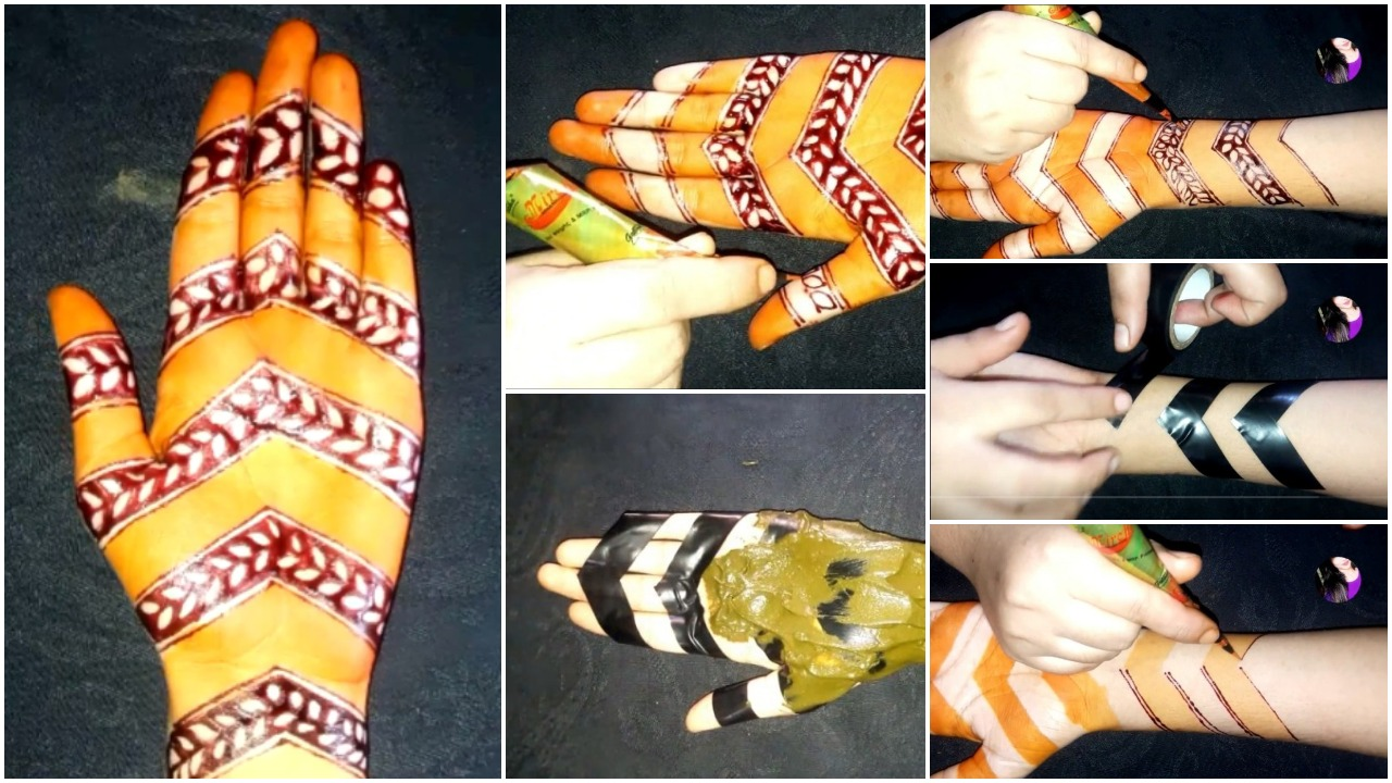 mehndi with the help of cello tape