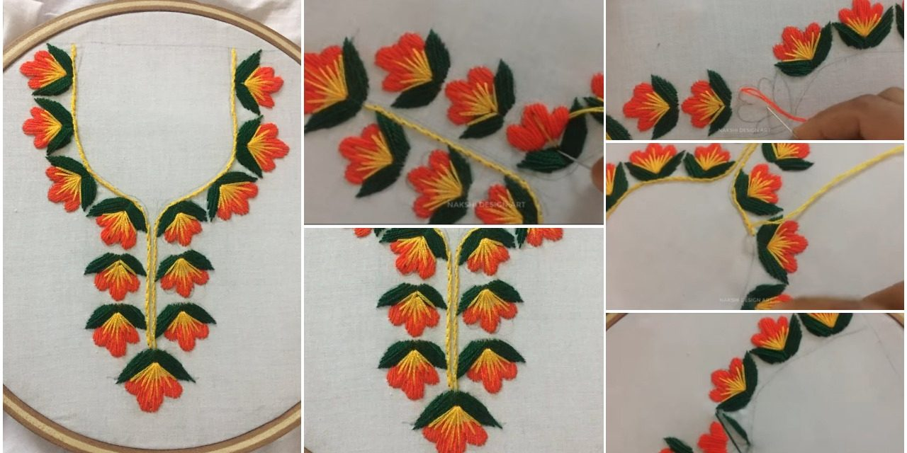 Hand embroidery neckline design by nakshi design art