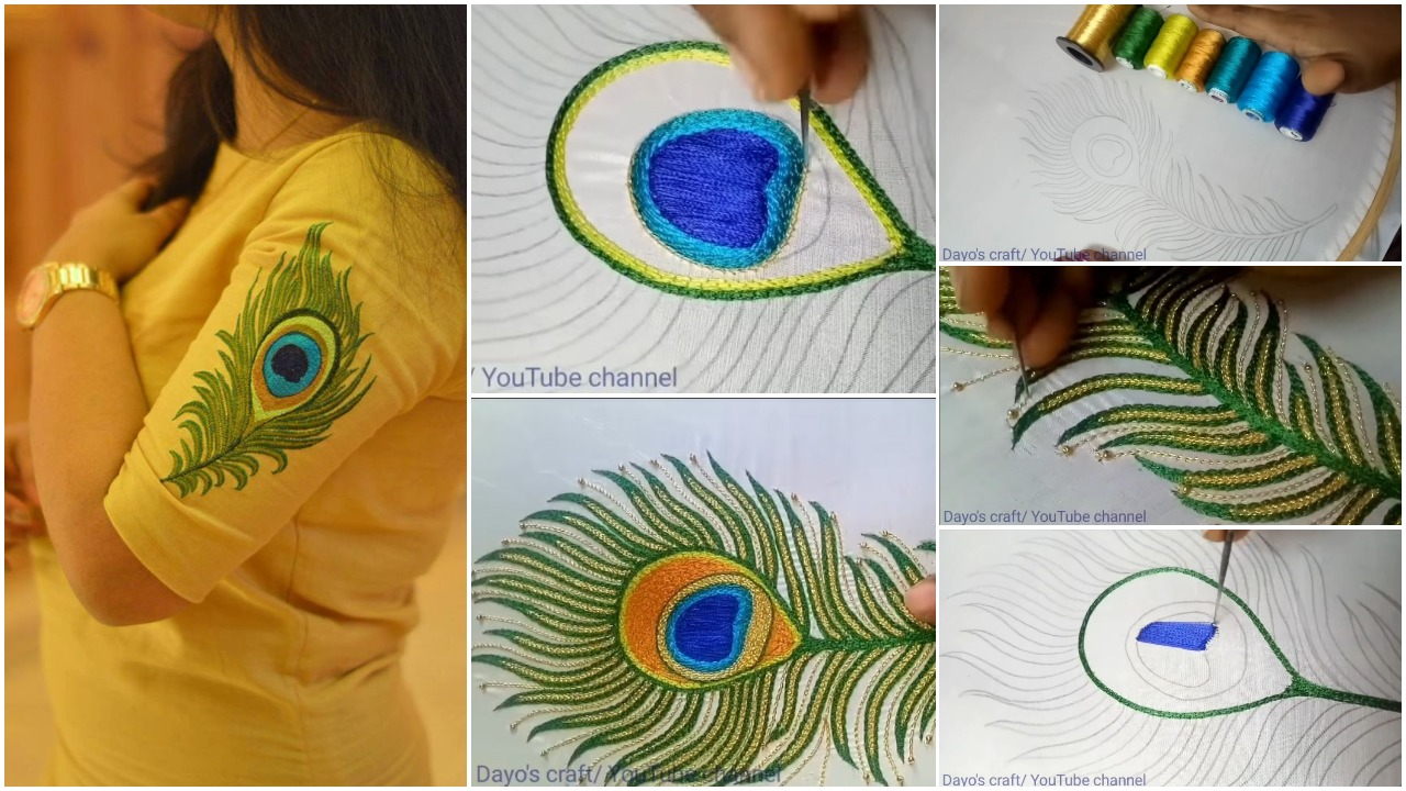Making of colourful peacock feather from aari work