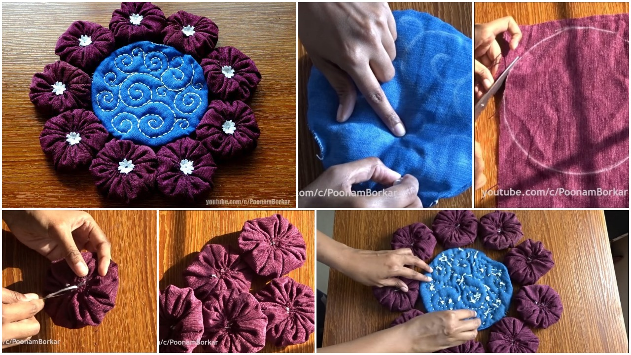 Flower shaped mat from old clothes