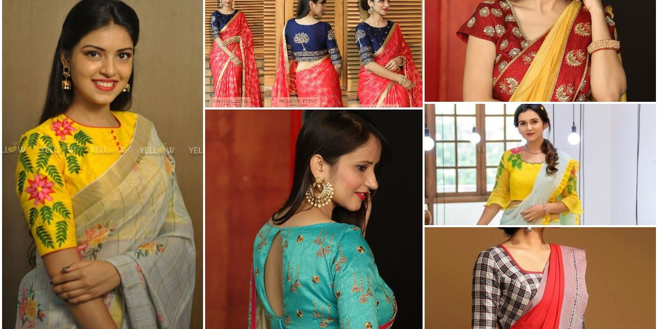 25 types of saree blouses front and back neck designs
