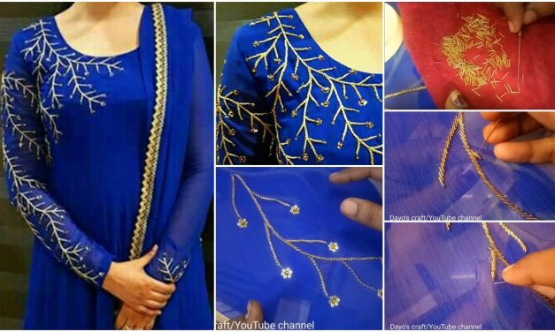 Easy and simple jardosi work for kurti