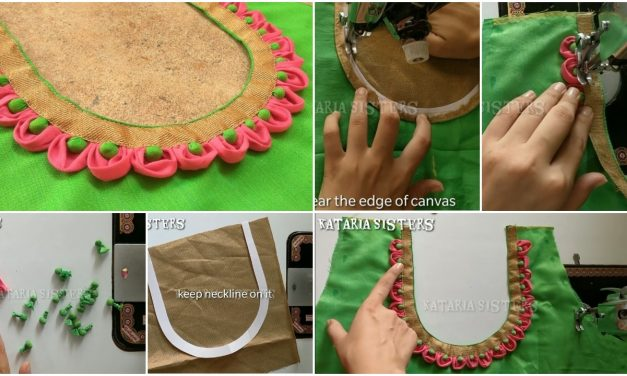 Petal with potli neck design making