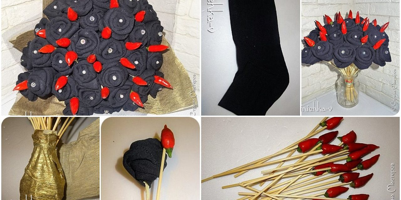 Assemblage of a bouquet from socks