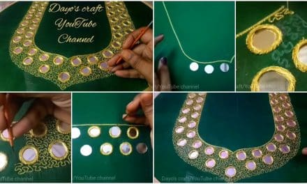 Aari, mirror,and paani work on blouse neckline
