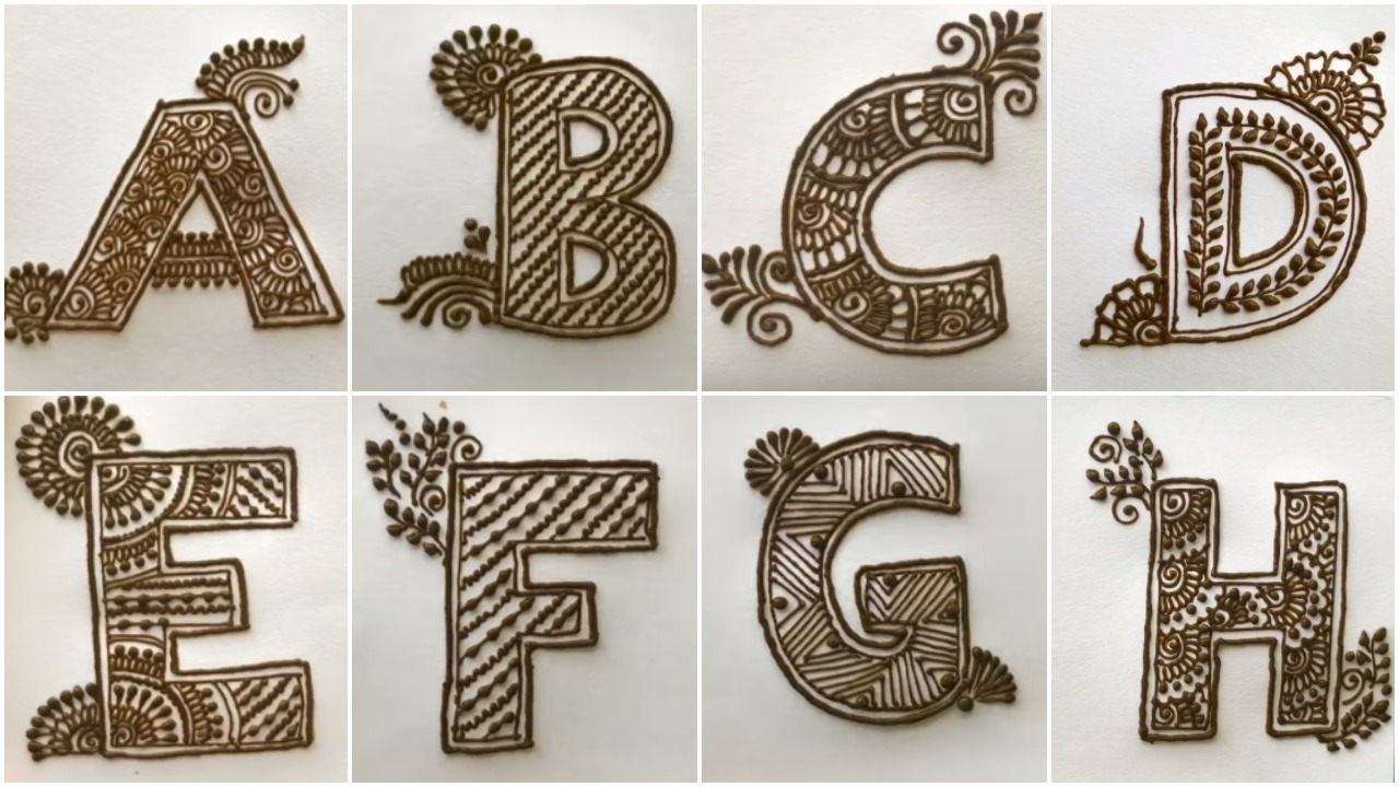 How to draw A to Z alphabets henna mehndi - Simple Craft Ideas
