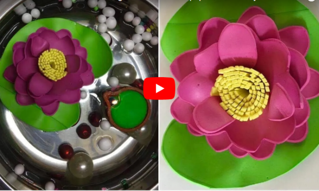 How to make a Lotus flowers making from foam sheet paper -Tutorial Diy decoration