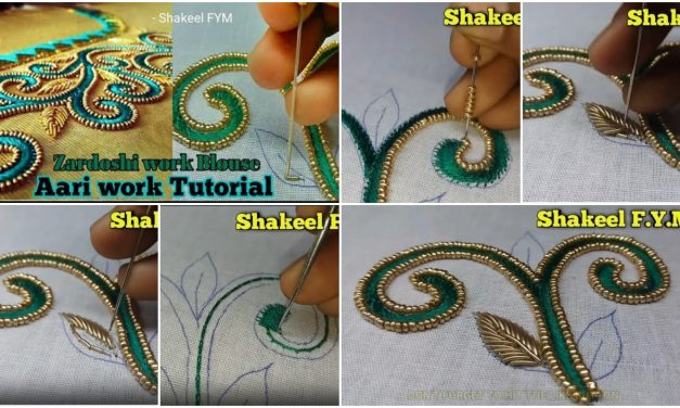 Zardoshi work blouse design tutorial