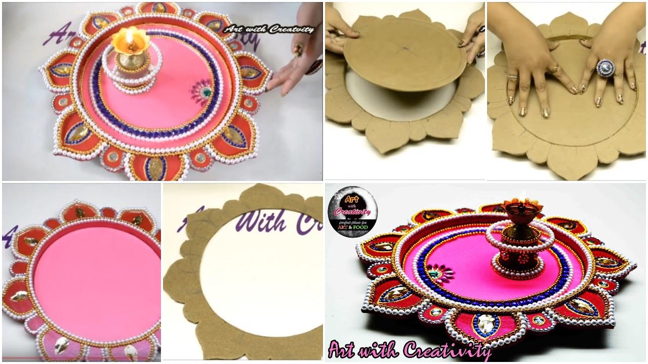 aarti thali decoration in navratri