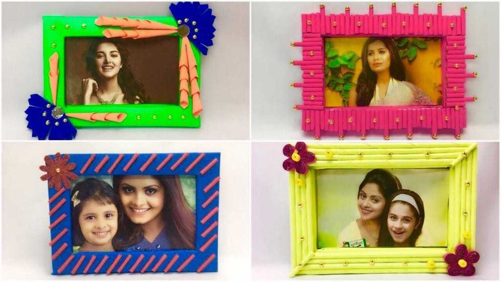 handmade photo frames from waste material