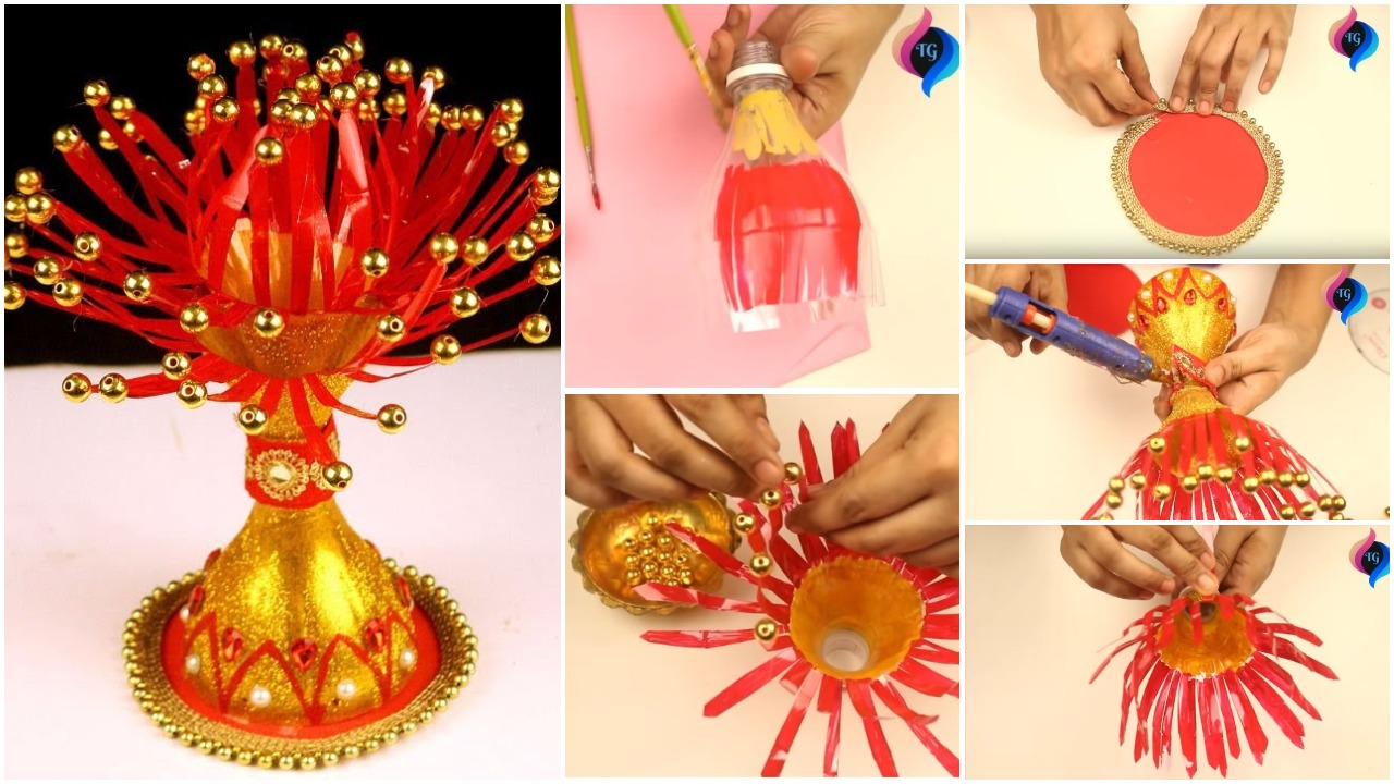 how to make flower vase with plastic bottle step by step