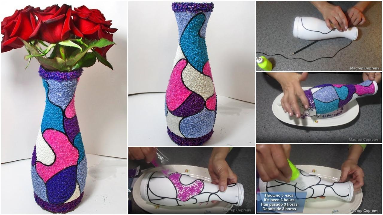 handmade vase from a bottle