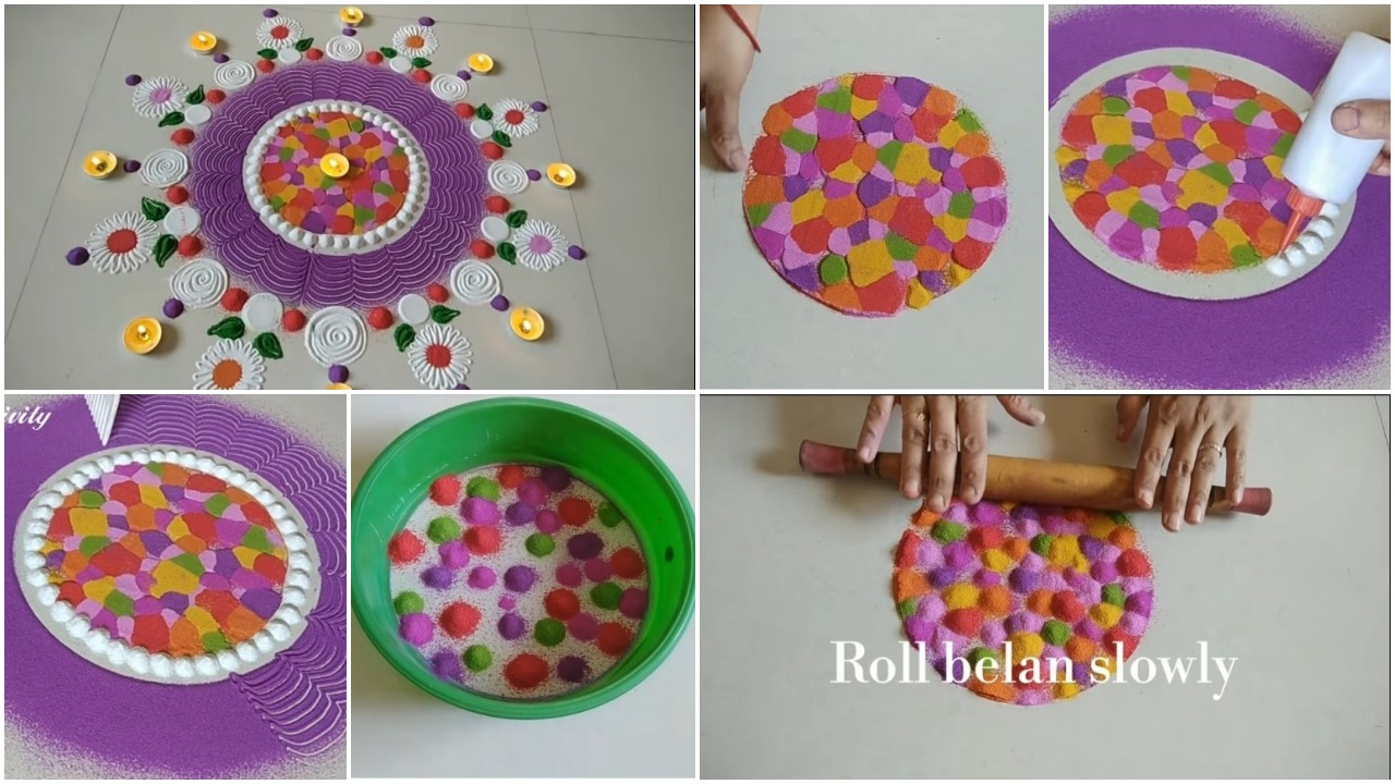 Here are some simple rangoli designs you can try! ... for anyone. This one is apt for Diwali and will suit most occasions, for it is mostly flower patterned. ... This one is a beautiful multicolored flower rangoli.