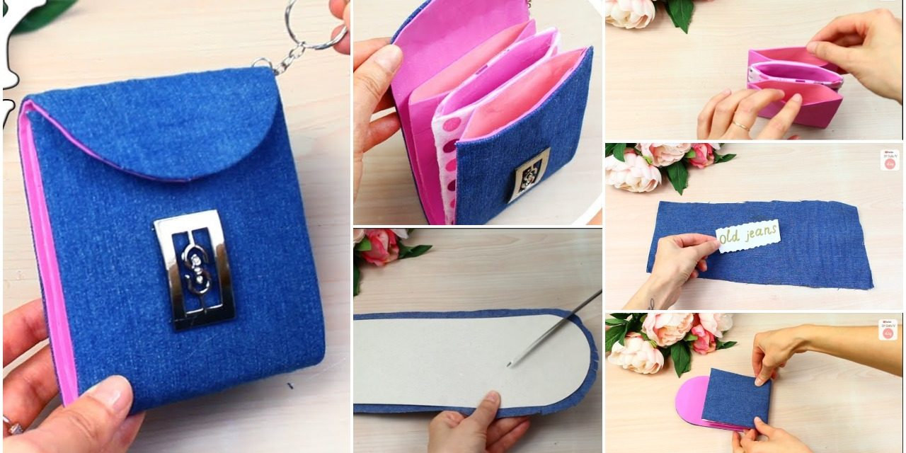 Jeans recycled into wallet tutorial