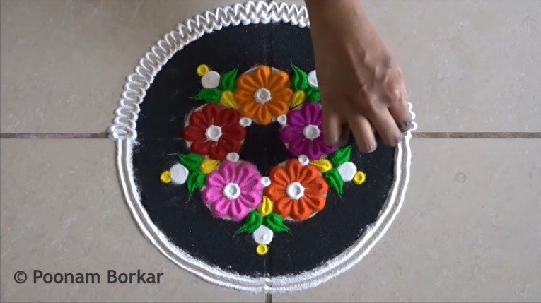 multicolored rangoli