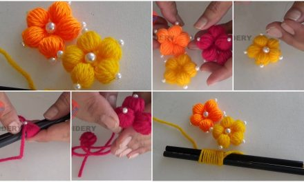 Making hand embroidery flowers with simple trick