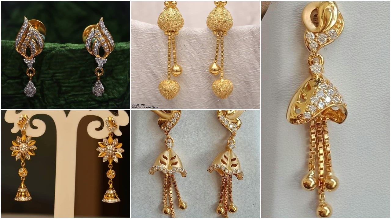 Light weight gold latkan earrings