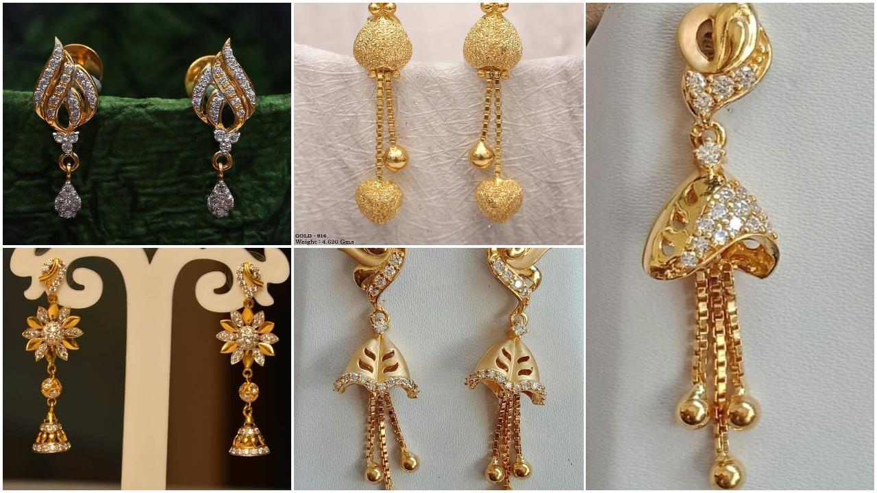 Light weight gold latkan earrings
