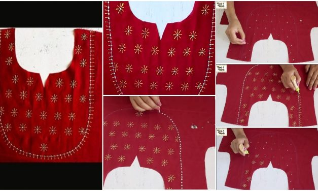 Easy mirror embroidery design on red kurti