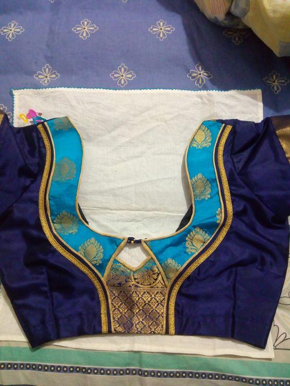 Golden Beaded High Back Neck Blouse Design