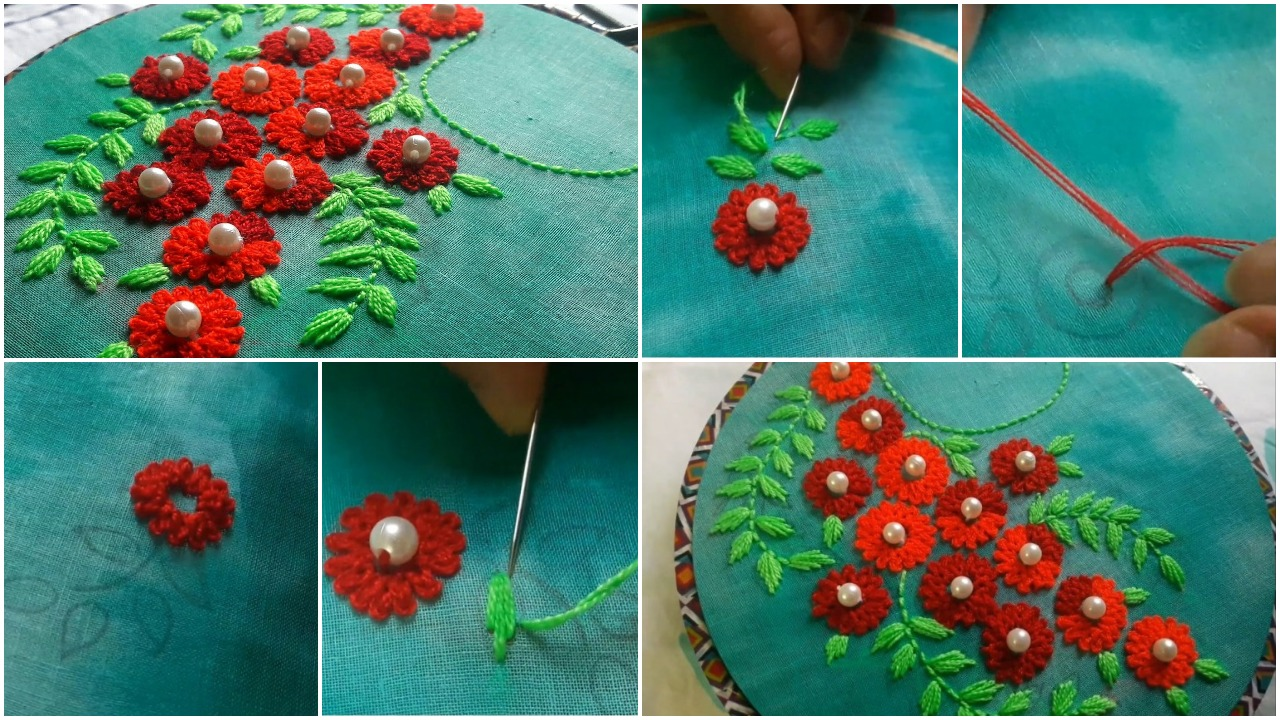 hand embroidery design for kurti