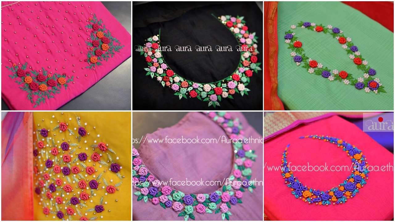 youtube how to decorate embroidered flower on kurti