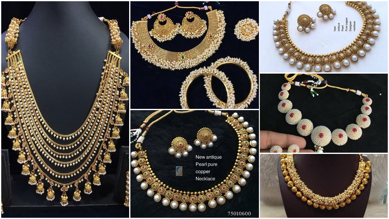 Antique gold pearl necklace sets