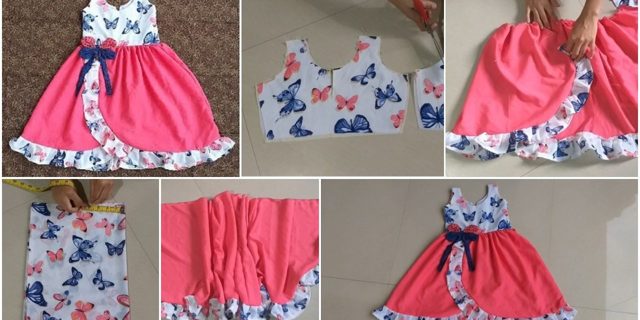 Designer frill baby frock cutting and stitching