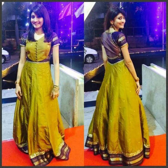 Convert Your Old Saree Into A Beautiful Gown Styles Simple Craft Ideas