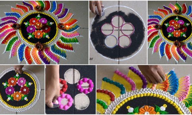 Diwali special bright multicolored rangoli