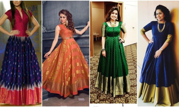 Convert your old saree into a beautiful gown styles