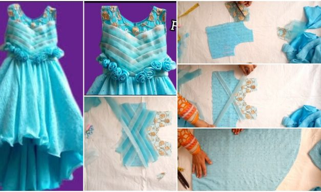 Designer frock cutting stitching tutorial