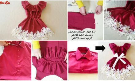 Convert any old mens shirt into a baby dress