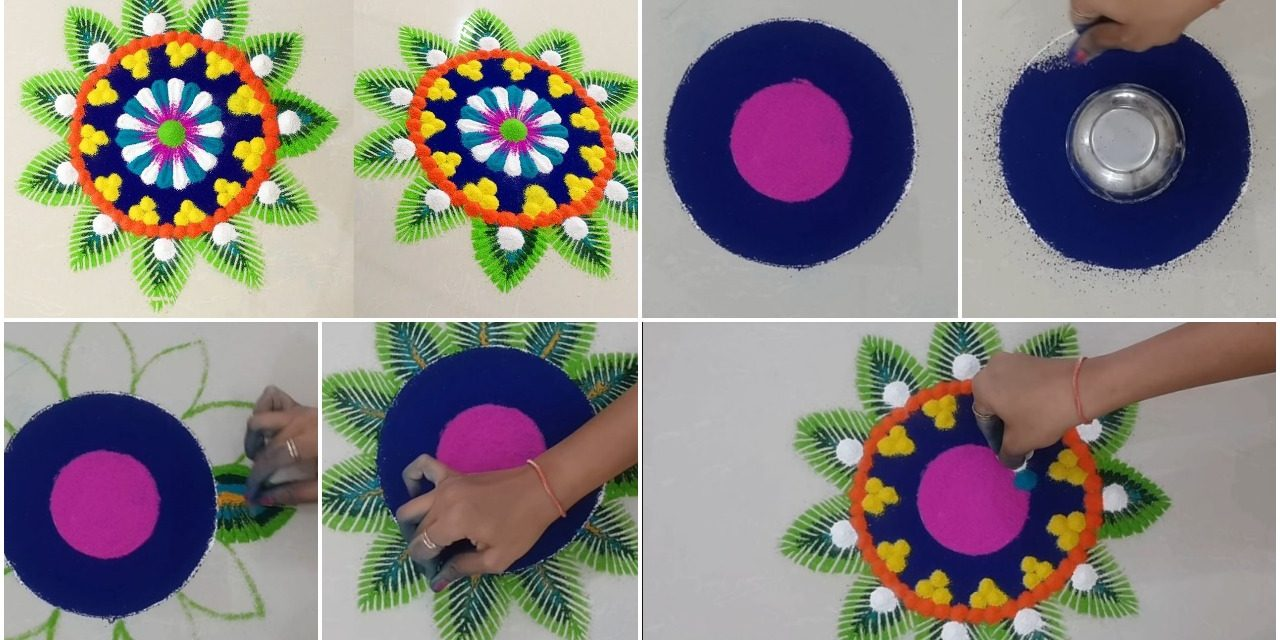 Beautiful easy dotted rangoli for diwali