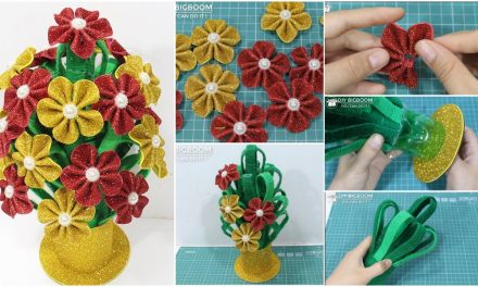 How to make flower vase with plastic bottle and glitter sheet