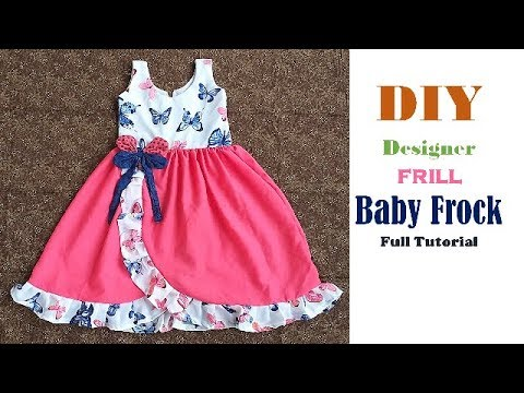 a75041fef Designer frill baby frock cutting and stitching - Simple Craft Ideas