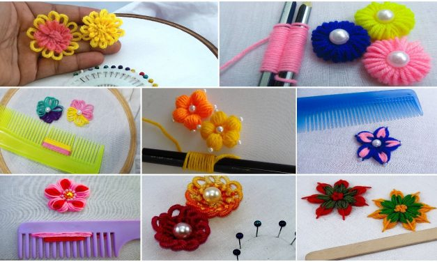 Hand embroidery flower making trick
