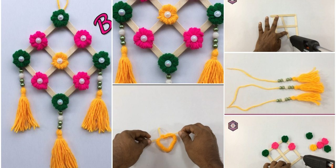 Wall hanging craft ideas easy with waste material