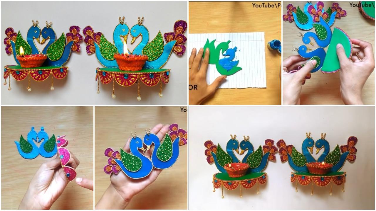 hanging diya peacock stand