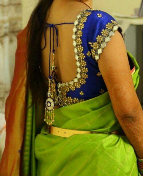 Mirror Work Saree Blouse
