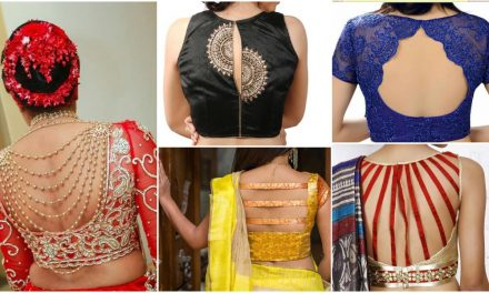 New saree blouse back neck designs