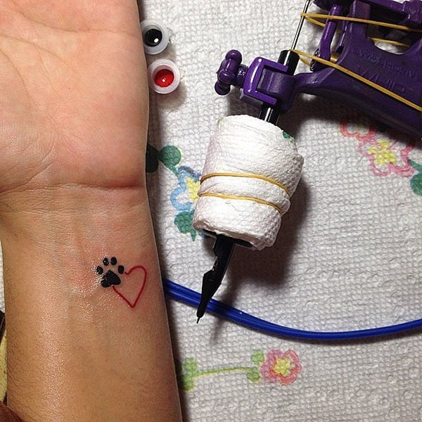 Pet paw and Heart Tattoo