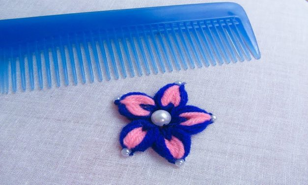 Hand embroidery flower making trick with hair comb