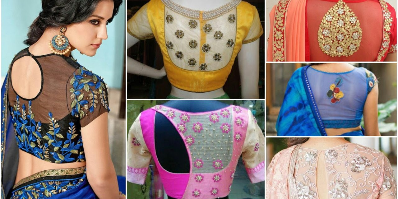 30 Pretty sheer back neck blouse designs in 2019