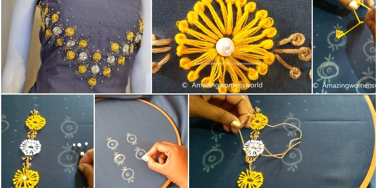 Long french knot stitch design churidar