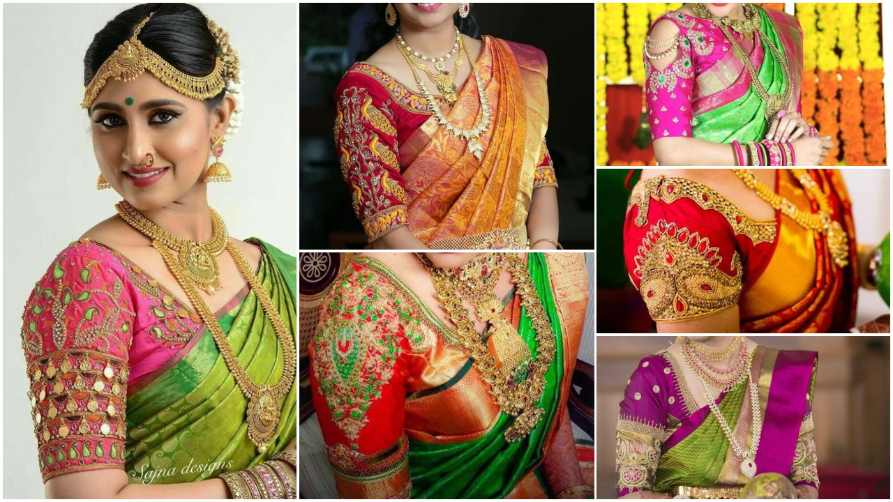 South Indian wedding sarees are usually a combination of red and yellow or a mix of shades that fall under either of them. ... traditional silk saree blouse design.