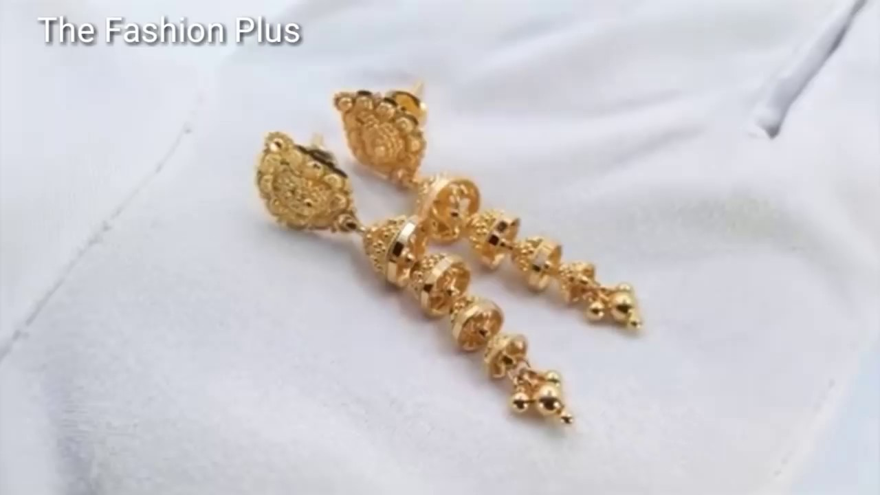Latest Light Weight Gold Earrings Collection Simple