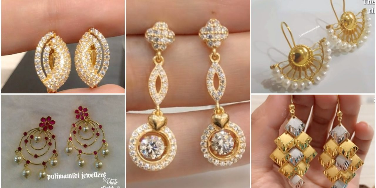 Light Weight Gold Earring Designs