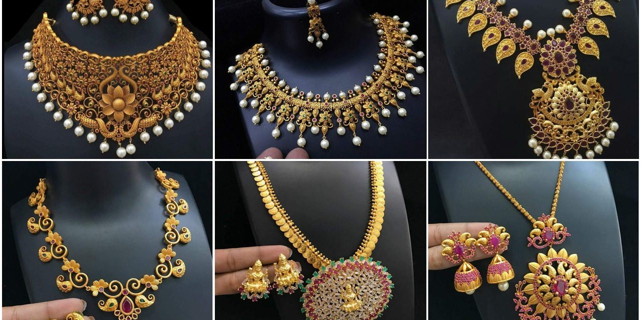Latest gold necklace designs with earrings