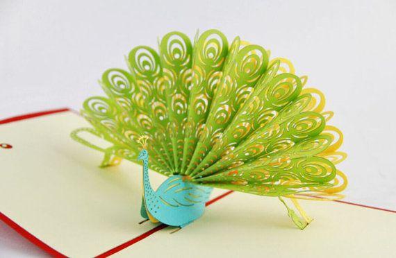 peacock pop up card